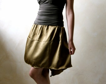 Satin skirt, women skirt, hi low skirt, mini skirt, black skirt, gothic skirt, steampunk skirt, fairy skirt, bubble skirt, short skirt