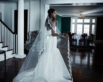 Wedding Veil - Chapel  Bridal Alencon Lace Mantilla Veil -  made to order