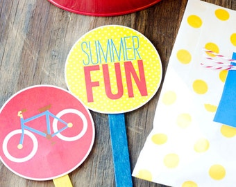 Summer Picnic Party PRINTABLE Cupcake Toppers (INSTANT DOWNLOAD) by Love The Day