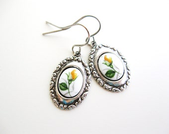 Yellow Rose Earrings - yellow flower cameo in silver