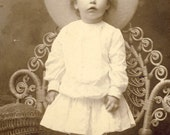 Adorable Little Girl with Large HAT and White COTTON DRESS Standing on Chair Photo Tekamah Nebraska Circa 1910s