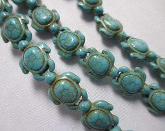 TURTLE BLUE TURQUOISE 75 Beads Thick Howlite Magnesite Carved Tortoise - 17mm X 14mm -  Wholesale 3 Strands
