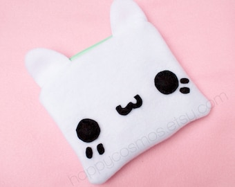 White Cat Zipper Pouch - Pencil Pouch, Pencil Case, School Supplies, Make Up Bag, 3DS Case, Phone Case, Coin Purse