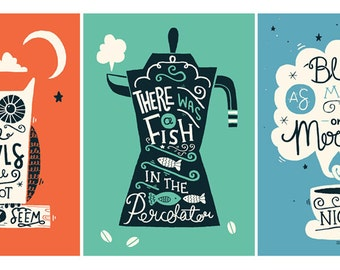 Set of three A4 Twin Peaks Art Prints - Typography / Illustration / Hand Lettering / Typographic Quotes