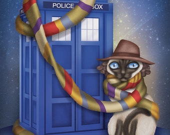 Dr. Who Cat - 8x10 art print - cat dressed up like Dr. Who with a scarf wrapped Tardis.