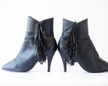 Vintage 80s Black Fringe Ankle Boots Womens Size 6 1/2 Fringe Boots Short Black Boots