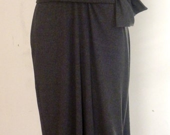 Gray Knit fabric pullover dress with sleeve detail and attached belt by Cheryl Johnston