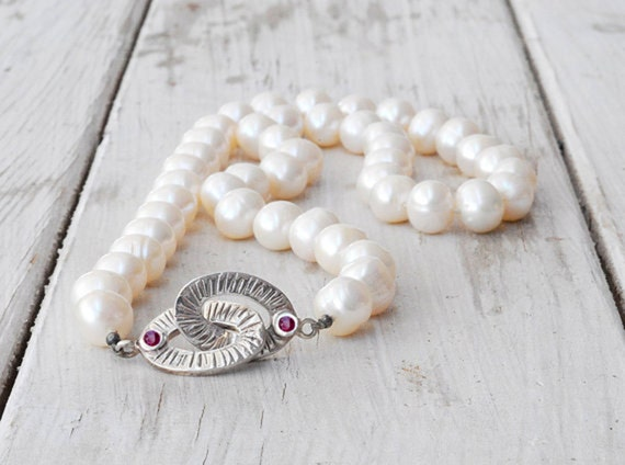 White Pearl Necklace, Natural Cultured Pearls, Sterling Silver Jewel Clasp with Red Rubies, Knotted Pearls, June Birthstone, Bridal Jewelry