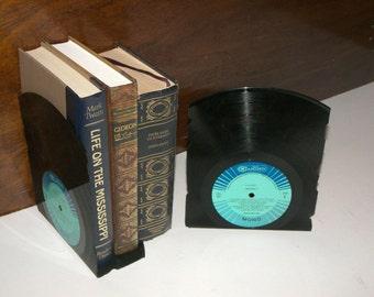 Vinyl Record Bookends - Vintage Records Cut into Bookends - Unique Vinyl Record Bookends