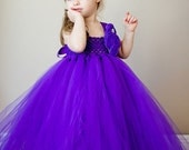 Purple Flower Girl Tutu Dress with Customizeable Accents