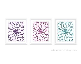Dahlia Flower No.2 Print Set - Digital Art Print Wall Art - Modern Flowers - Home Decor - Violet Teal