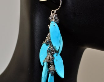 LP 1005   Sleeping Beauty Turquoise And Pyrite Nugget OOAK Earrings