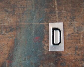 vintage industrial letter D / metal letters / letter art