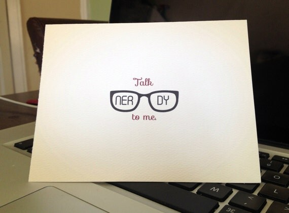 Talk Nerdy To Me greeting card - one card with envelope - perfect for brainy valentines etsy