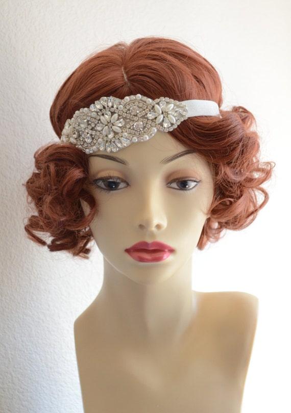 Best Seller,Vintage Headpiece,Rhinestones,beading and Pearls,Tulle headband,Headband,Flapper,1920s,Gatsby Elastic headband,Style C091