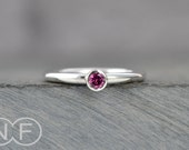 Rhodolite Garnet Stacking Ring - Sterling Silver