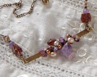Juliette necklace: sari silk ribbon, amethyst and garnet nuggets, pearls wire wrapped brass bar