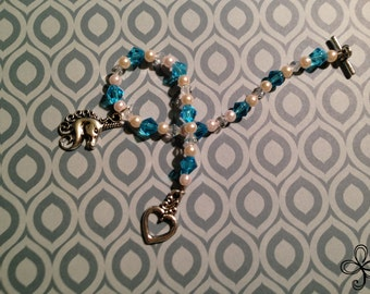 Glass Pearl and Crystal Unicorn Charm Bracelet (in Blue and Pink)