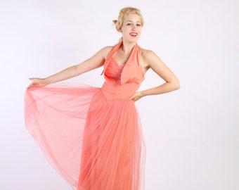 Dress 1950s Vintage 50s  Halter Salmon Pink  Full Skirt  Prom S Small
