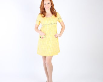Dress 1960s 1970s Vintage 60s 70s  Yellow Gingham Micro Mini Dress S Small M Medium Embroidered Floral
