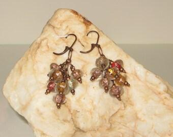 Multi Colored India Foil Pumpkin Glass & Copper Earrings