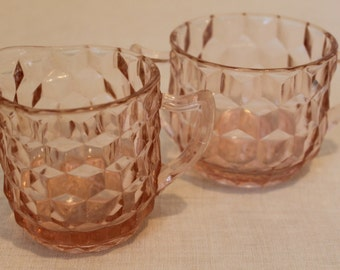 Pink Depression Glass Creamer and Sugar Bowl Jeannette Cube Cubist Pattern