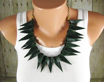 Leather Jewelry - Statement Necklace - Spike Necklace - Green Leather - Tribal Jewelry - Boho Necklace - Leather Necklace