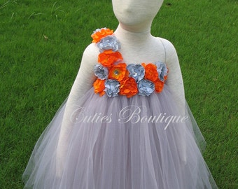 Gray Dress With Gray Orange Flower Dress Wedding Dress Picture Prop 6, 12, 18, 24 Month, 2T, 3T,4T 5T  Ivory Flower Girl Tutu Dress