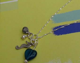 Sea Horse Charm Necklace, Pearl and Heart Charm Jewelry, Sterling Silver, Gifts For Her Under 75