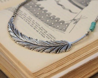 Light as a Feather can be- Large chocker silver plated feather pendant necklace turquoise beads Native rustic Tribal Vintage Bohemian style