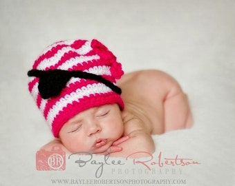 Pirate Hat Crocheted Pirate Hat Baby Pirate Hat Pirate Photo Prop Crochet Baby Hat Newborn Pirate Hat Pirate Costume Girls Hat Cbbcreations