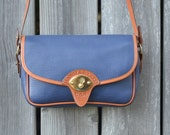 Vintage Dooney & Bourke Blue Calvary Leather Satchel Purse