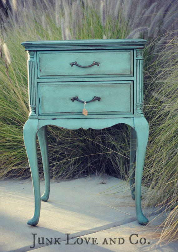 Reserved For Kimberly Vintage Blue Side Table Night Stand