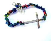Anklet Ankle Bracelet Sideways Cross Christian Jewelry Christian Gift SALE