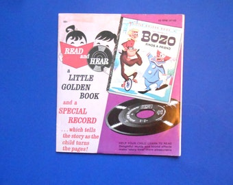 Bozo Finds a Friend, a Vintage Little Golden Book with 45 RPM Record, 1960s