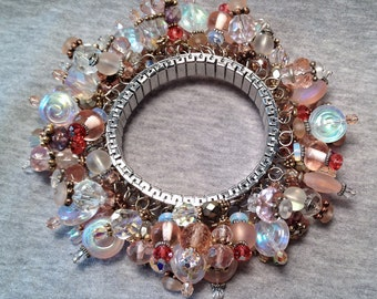 OOAK Pink Beaded CHA-CHA Bracelet