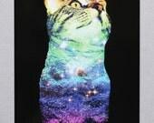 Rainbow Space Kitty Postcard