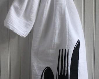 Spoon Fork Knife towel hand screened