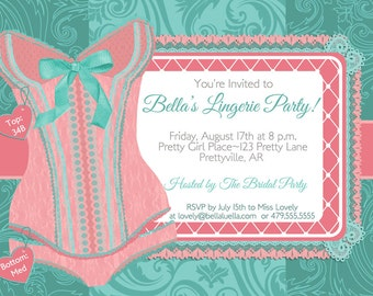 Lingerie Shower Invitations, Bachelorette Party Invitations