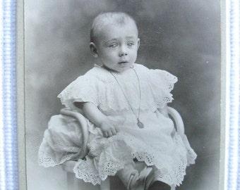 French Antique Photo CDV - Baby in a Lace Dress (Gve. Ouvière, Marseille, France)
