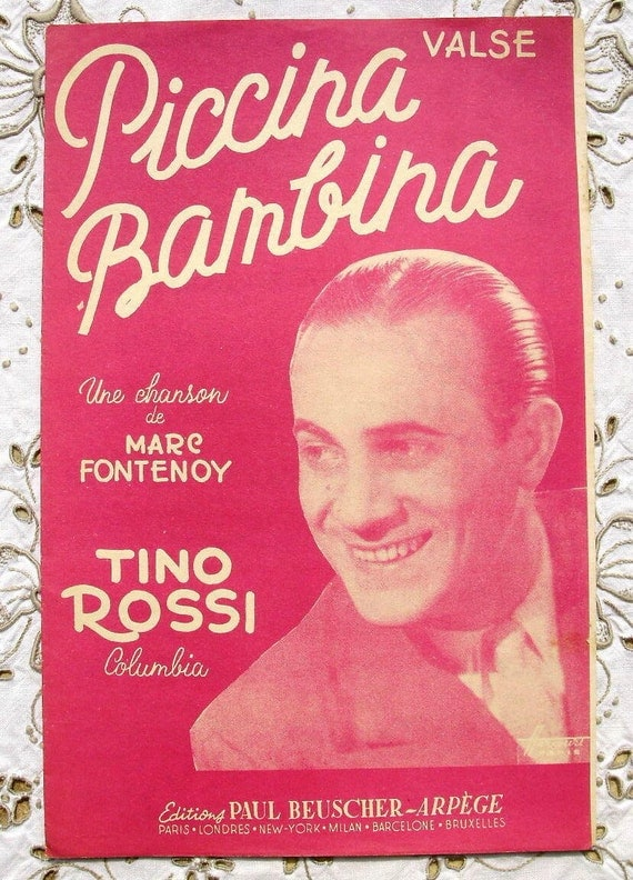 Vintage French 1950's Song / Sheet Music - Baby Girl (Piccina Bambina) Tino Rossi