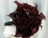 Wedding Bouquet real touch majestic red calla lily black baccara rose bridal bouquet