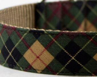 Forest Green Plaid Dog Collar