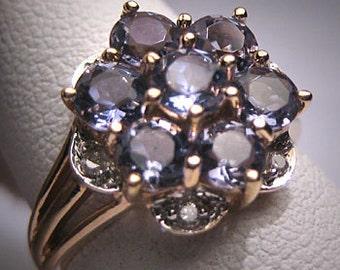 Vintage Tanzanite Diamond Ring Gold Wedding Estate