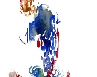"Small Original Watercolor Fashion Painting depicting a Surreal Figure Illustration - Unique Gift Idea 6"" x 6"" - 28"