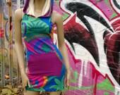 Hooded Neon Jersey Dinosaur Mini Dress Festival Clubbing Racer Back Bodycon Slinky Cute Psy Burning Man