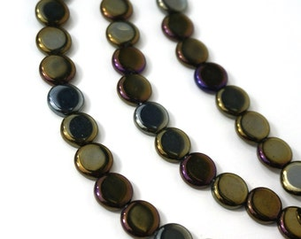 Czech Glass Beads, Iris Brown Metallic, 10mm flat round, Full bead strand, 878G