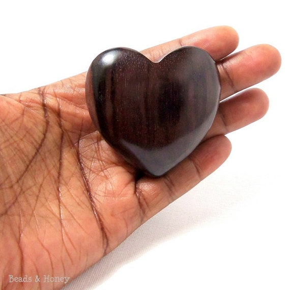 Jumbo Ebony Wood Heart Focal Bead