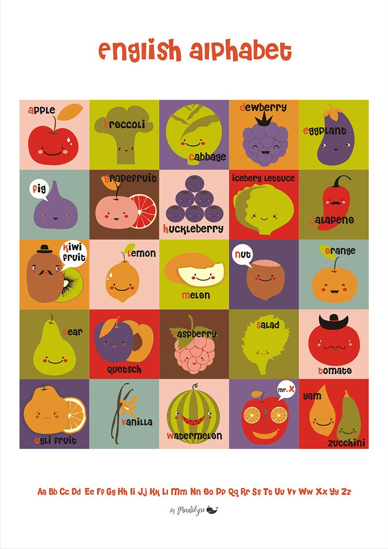 Items similar to А2 Fruit and Vegetable English Alphabet ...