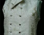 Mans English Regency Wedding Vest Double Breasted Grooms Waistcoat in Cream/Gold Silk Brocade